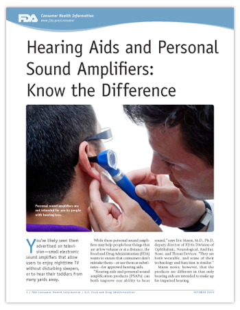 Hearing Aids and Personal Sound Amplifiers